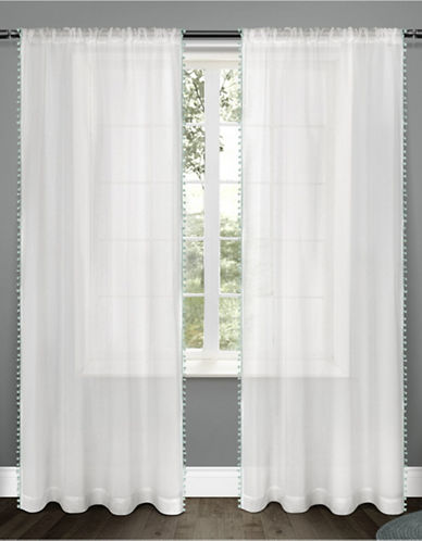 Home Outfitters Set of Two Pom-Pom Curtain Panels-SEA FOAM-84 inches