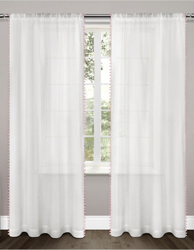 Home Outfitters Set of Two Pom-Pom Curtain Panels-BUBBLE GUM PINK-96 inches