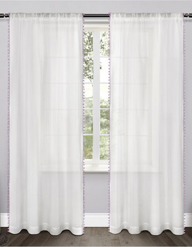 Home Outfitters Set of Two Pom-Pom Curtain Panels-LILAC-96 inches