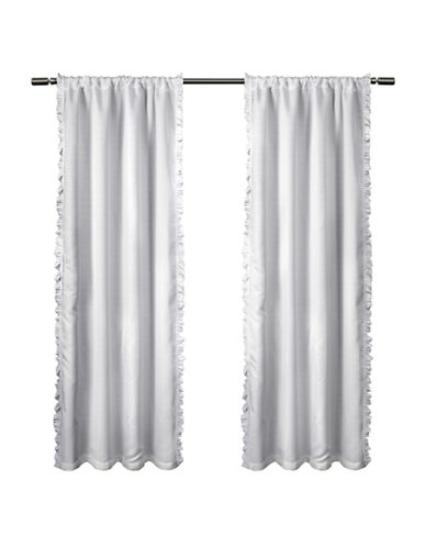 Home Outfitters Set of Two Ruffle Window Curtain Panels-WHITE-84 inches