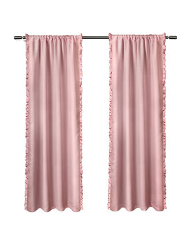 Home Outfitters Set of Two Ruffle Window Curtain Panels-BUBBLE GUM PINK-84 inches