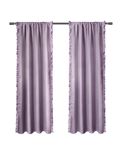 Home Outfitters Set of Two Ruffle Window Curtain Panels-LILAC-84 inches