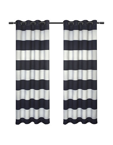 Home Outfitters Set of Two Kids Rugby Curtain Panels-NAVY-84 inches