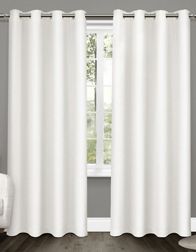 Home Outfitters Set of Two Tweed Curtain Panels-WINTER WHITE-84 inches