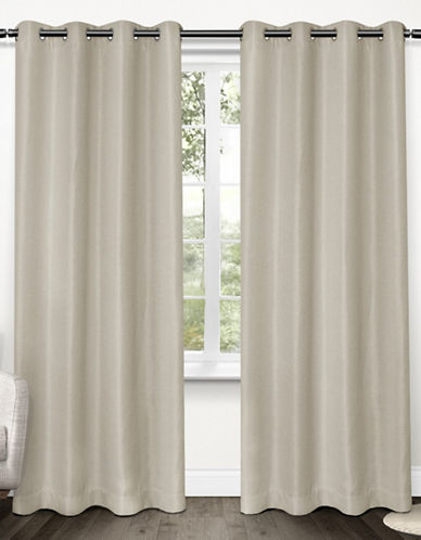 Home Outfitters Set of Two Tweed Curtain Panels-NATURAL-84 inches