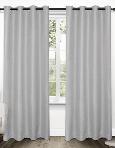 Home Outfitters Set of Two Tweed Curtain Panels-DOVE GREY-96 inches