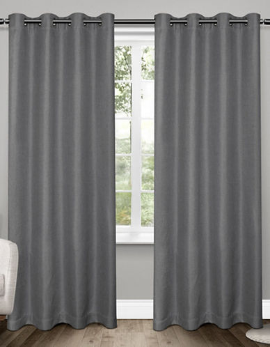 Home Outfitters Set of Two Tweed Curtain Panels-BLACK PEARL-96 inches