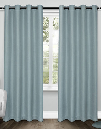 Home Outfitters Set of Two Tweed Curtain Panels-TURQUOISE-96 inches