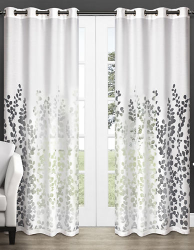 Home Outfitters Set of Two Wilshire Burnout Curtain Panels-WHITE-96 inches