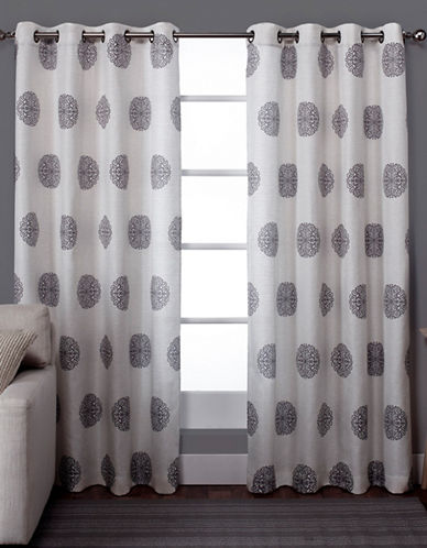 Home Outfitters Set of Two Sedgewick Curtain Panels-BLACK PEARL-108 inches