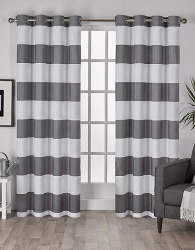 Home Outfitters Set of Two Stripe Curtain Panels-BLACK PEARL-108 inches