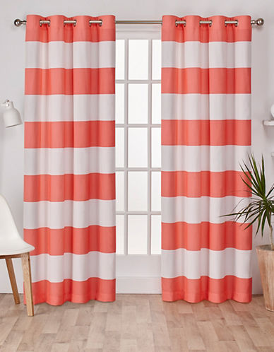 Home Outfitters Set of Two Stripe Curtain Panels-CORAL-96 inches