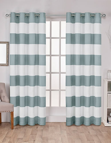 Home Outfitters Set of Two Stripe Curtain Panels-SEA FOAM-84 inches