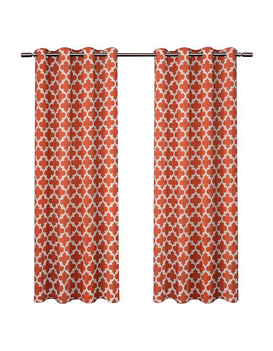 Home Outfitters Set of Two Neptune Curtain Panels-ORANGE-96 inches