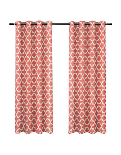 Home Outfitters Set of Two Neptune Curtain Panels-CORAL-84 inches