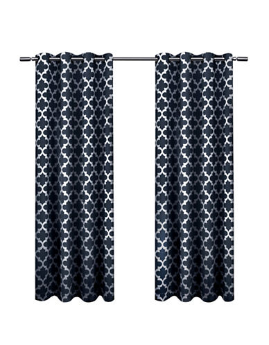 Home Outfitters Set of Two Neptune Curtain Panels-INDIGO-108 inches
