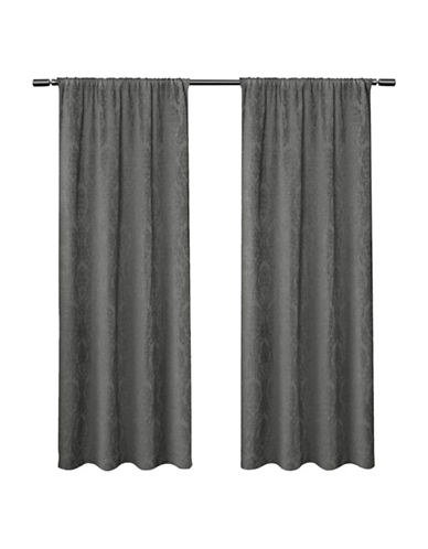 Home Outfitters Damask Large Window Curtain-SOFT GREY-108 inches