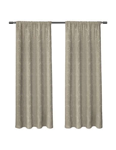 Home Outfitters Damask Large Window Curtain-TAUPE-84 inches