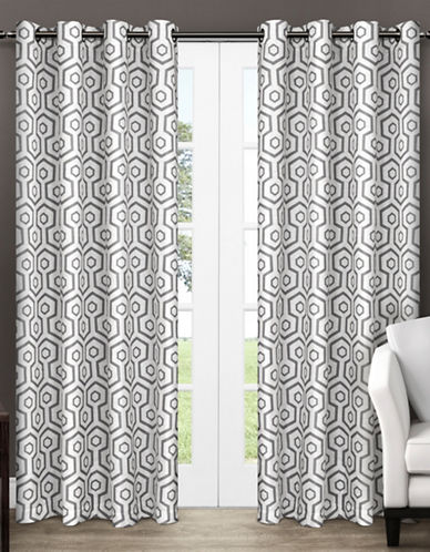 Home Outfitters Set of Two Trike Geometric Curtain Panels-BLACK PEARL-96 inches