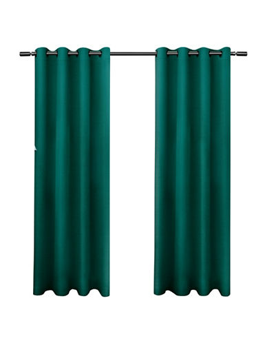 Home Outfitters Jakarta Basket Weave Curtain-TEAL-96 inches