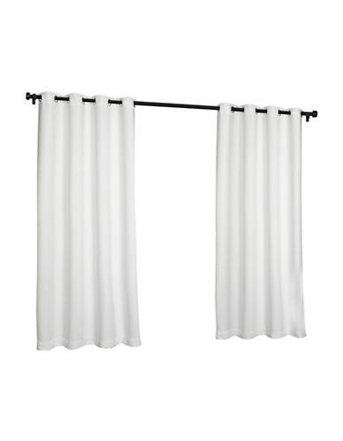 Home Outfitters Indoor and Outdoor Solid Large Window Curtain-WHITE-84 inches