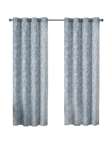 Home Outfitters Lamont Large Window Curtain-STEEL BLUE-84 inches