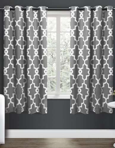 Home Outfitters Ironwork Large Window Curtain-BLACK PEARL-96 inches