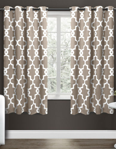 Home Outfitters Ironwork Large Window Curtain-TAUPE-63 inches