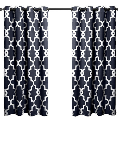 Home Outfitters Ironwork Large Window Curtain-PEACOAT BLUE-63 inches