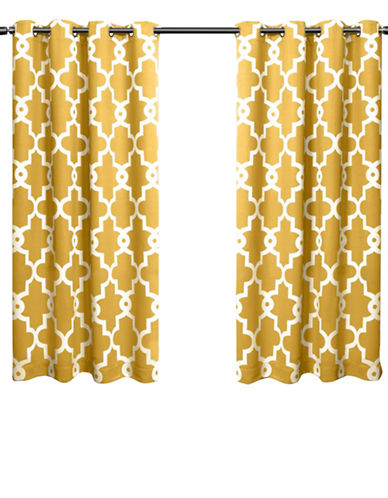 Home Outfitters Ironwork Large Window Curtain-YELLOW-63 inches