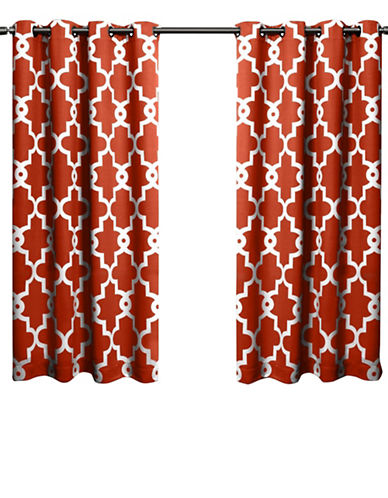 Home Outfitters Ironwork Large Window Curtain-MECCA ORANGE-63 inches