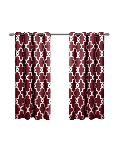 Home Outfitters Ironwork Large Window Curtain-BURGUNDY-96 inches