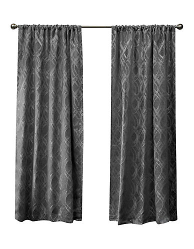 Home Outfitters Elena Rod Pocket Curtain Panel-SOFT GREY-84 inches