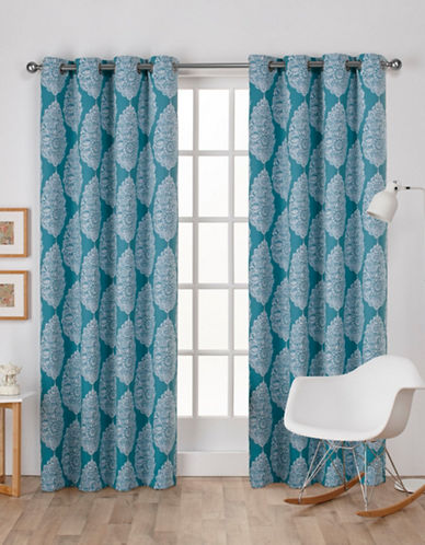 Home Outfitters Queensland Woven Printed Curtain Panel-TEAL-84 inches