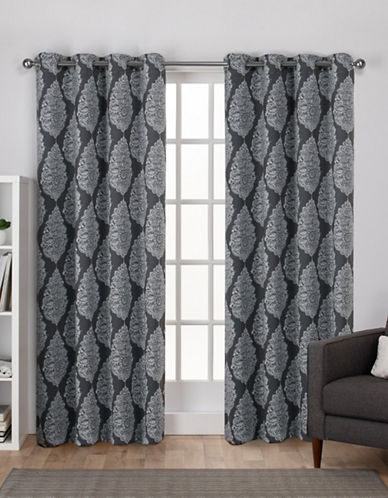 Home Outfitters Queensland Woven Printed Curtain Panel-BLACK PEARL-96 inches