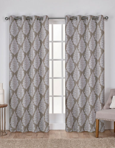 Home Outfitters Queensland Woven Printed Curtain Panel-TAUPE-84 inches