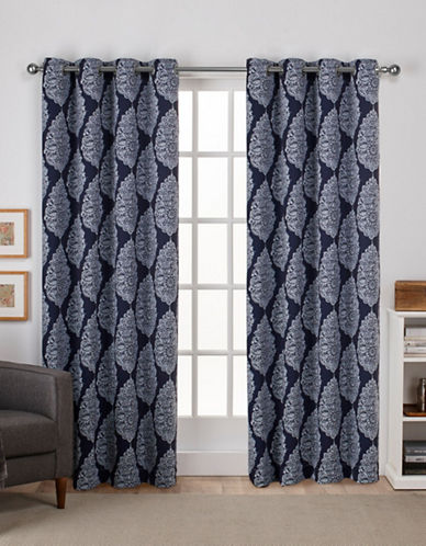 Home Outfitters Queensland Woven Printed Curtain Panel-PEACOAT BLUE-84 inches