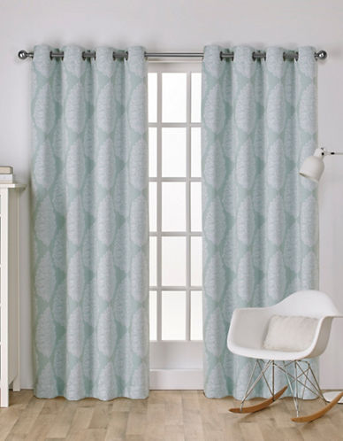 Home Outfitters Queensland Woven Printed Curtain Panel-SEA FOAM-84 inches