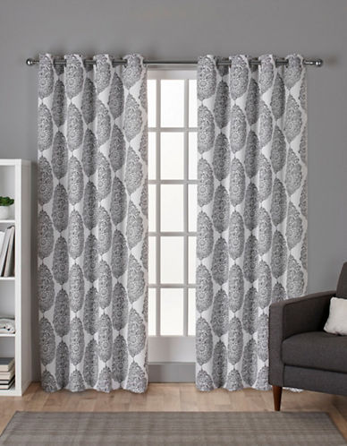 Home Outfitters Queensland Woven Printed Curtain Panel-WINTER WHITE-108 inches