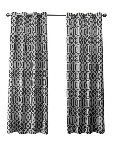 Home Outfitters Scrollwork Woven Printed Curtain Panel-BLACK PEARL-84 inches