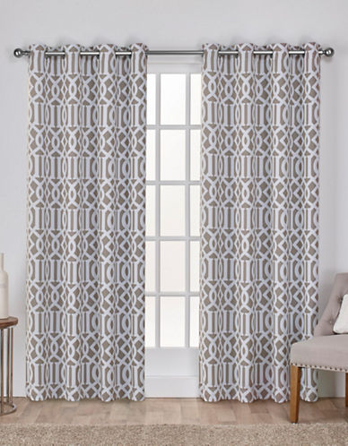 Home Outfitters Scrollwork Woven Printed Curtain Panel-TAUPE-84 inches