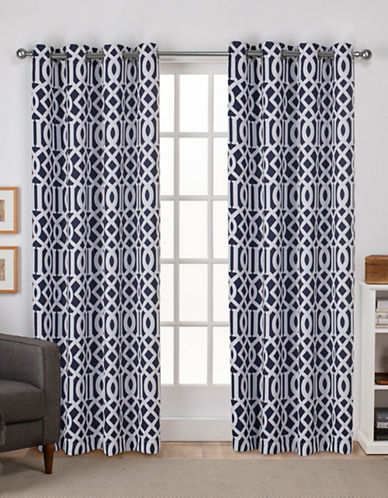 Home Outfitters Scrollwork Woven Printed Curtain Panel-PEACOAT BLUE-84 inches