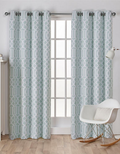 Home Outfitters Scrollwork Woven Printed Curtain Panel-SEA FOAM-108 inches