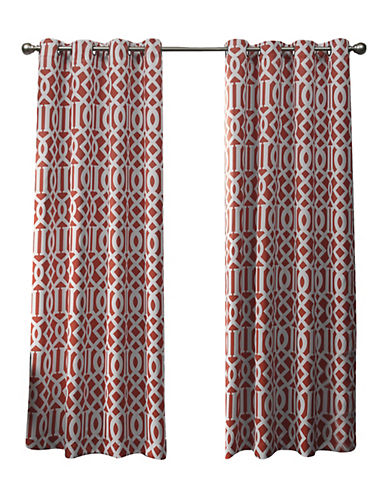 Home Outfitters Scrollwork Woven Printed Curtain Panel-MECCA ORANGE-96 inches