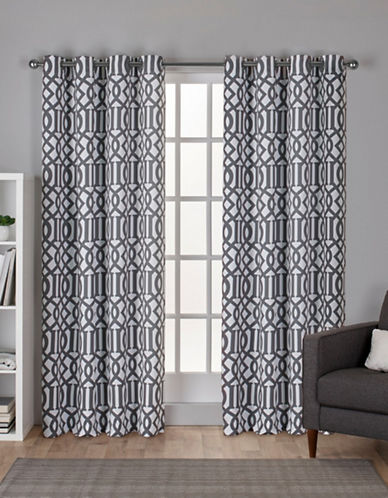 Home Outfitters Scrollwork Woven Printed Curtain Panel-WINTER WHITE-84 inches