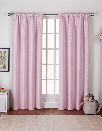 Home Outfitters Set of Two Polka Dot Curtain Panels-BUBBLE GUM PINK-84 inches