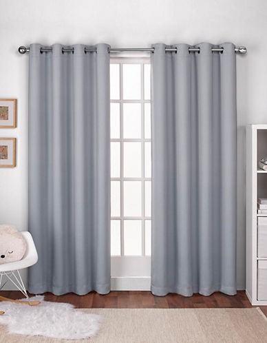 Home Outfitters Exclusive Home Textured Woven Blackout Grommet Top Window Curtain Panel Pair-DOVE GREY-96 inches