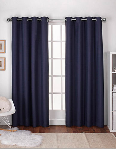 Home Outfitters Textured Linen Thermal Panel Pair-NAVY BLUE-96 inches