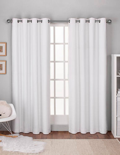 Home Outfitters Textured Linen Thermal Panel Pair-WINTER WHITE-96 inches