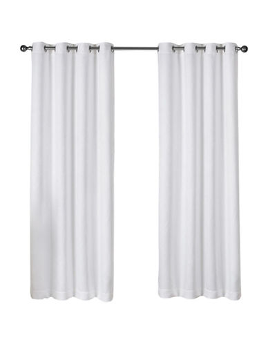 Home Outfitters Set of Two Twill Woven Curtain Panels-WHITE-108 inches